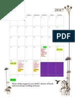independent book report calendar
