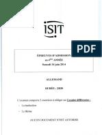 Admissionsannales2014allemand 4e Année