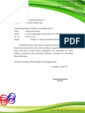 Surat Pernyataan Badan Usaha