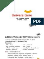 Inglês - Pré-Vestibular Universitário - UFRGS 2007