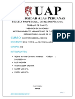 CALCULO DE CAUDAL POIR METODO DE FLOTADORES