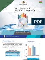 Boletin Mensual Comercio Exterior de Bolivia a Septiembre 2016