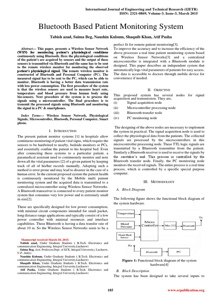 Ijetr031606 Monitoring Medicine Wireless Sensor Network Hardware Monitor Block Diagram