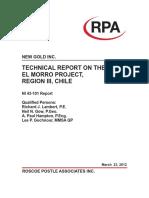 RPA New Gold El Morro NI43 101 Report FINAL 2012-03-26