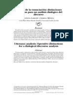 Analisis de La Enunciacion Distinciones Operativas Para Un Analisis Dialogico Del Discurso Larrain y Medina