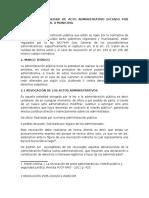 Revocación y Nulidad de Acto Administrativo Dictado Por Gobierno Regional o Municipal