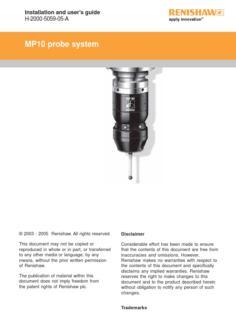 Installation and Users Guide - MP10 Probe System | Screw