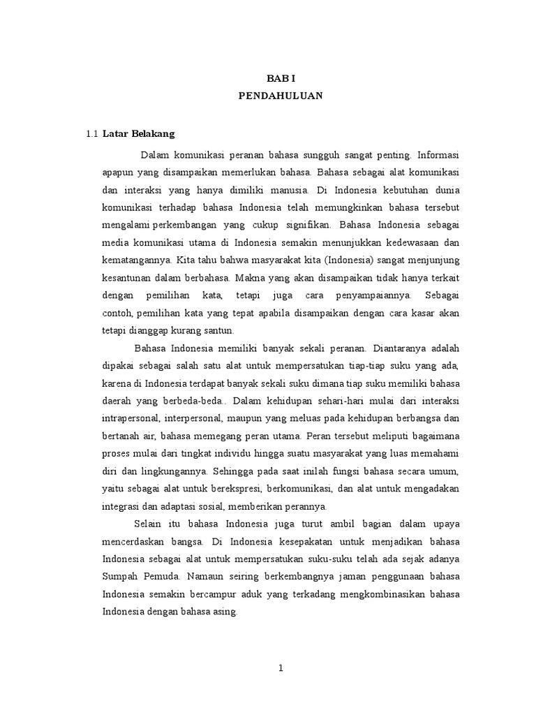 Makalah Peran Bahasa Indonesia Dalam Kehidupan Sehari-hari