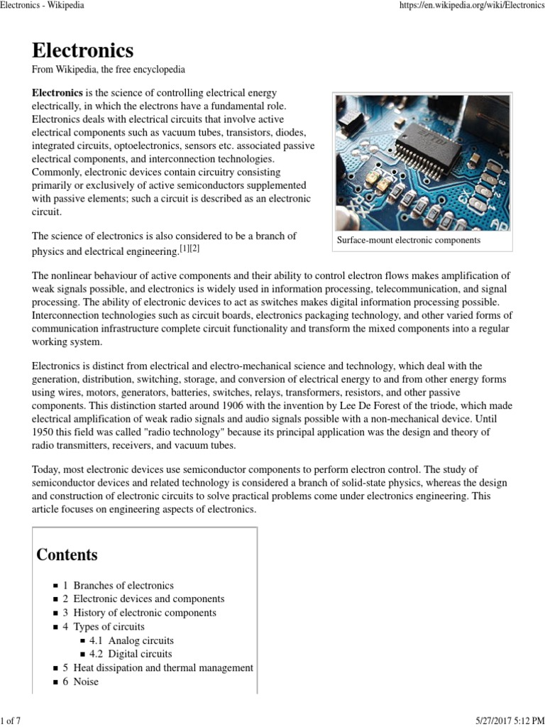 Electronics Electronic Circuits Component Wikipedia The Free Encyclopedia