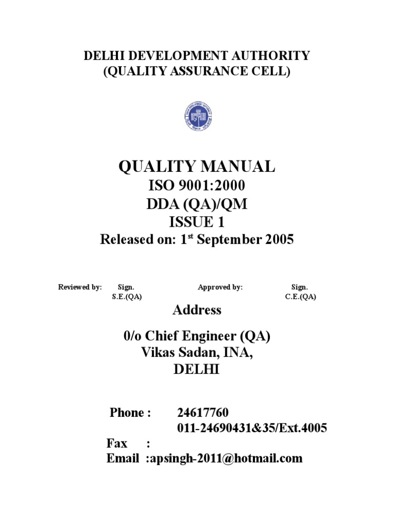 Quality Manual | Quality Assurance | Quality Management System