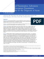 History, Physical Examination, LaboratoryTesting, And Emergency DepartmentUltrasonography for the Diagnosis of AcuteCho