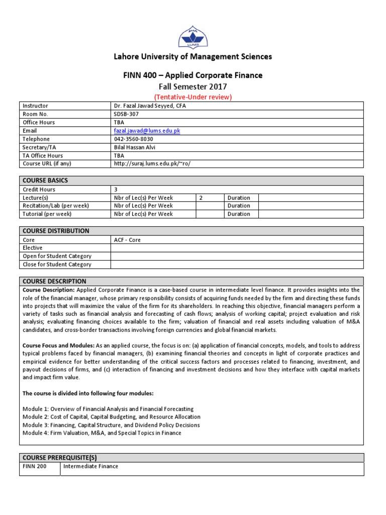 FINN 400- Applied Corporate Finance- Fazal Jawad Sayyed.pdf   Valuation ( Finance)   Capital Budgeting