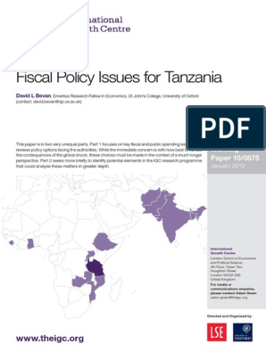 Fiscal Policy Issues for Tanzania | Fiscal Multiplier