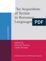 The Acquisition of Syntax in Romance Languages