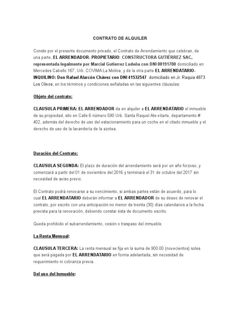 Formato contrato de alquiler 2017 per for Modelo de contrato de alquiler