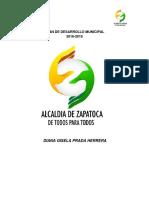 Plan de Desarrollo 2016 2019 Zapatoca de Todos Para Todos 1
