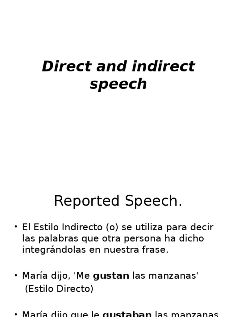 Direct And Indirect Speech Objeto Gramática Reglas