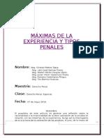Máximas de La Experiencia y Tipos Penales........Maestria