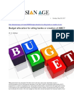 Budget Allocation for Ailing Banks or Creation of AMC
