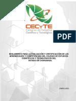 Reglamento Para La Evaluación y Certificación de Los Aprendizajes y Competencias CECyTECH