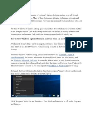 Windows10 Optional Feature | Windows 10 | Microsoft Windows