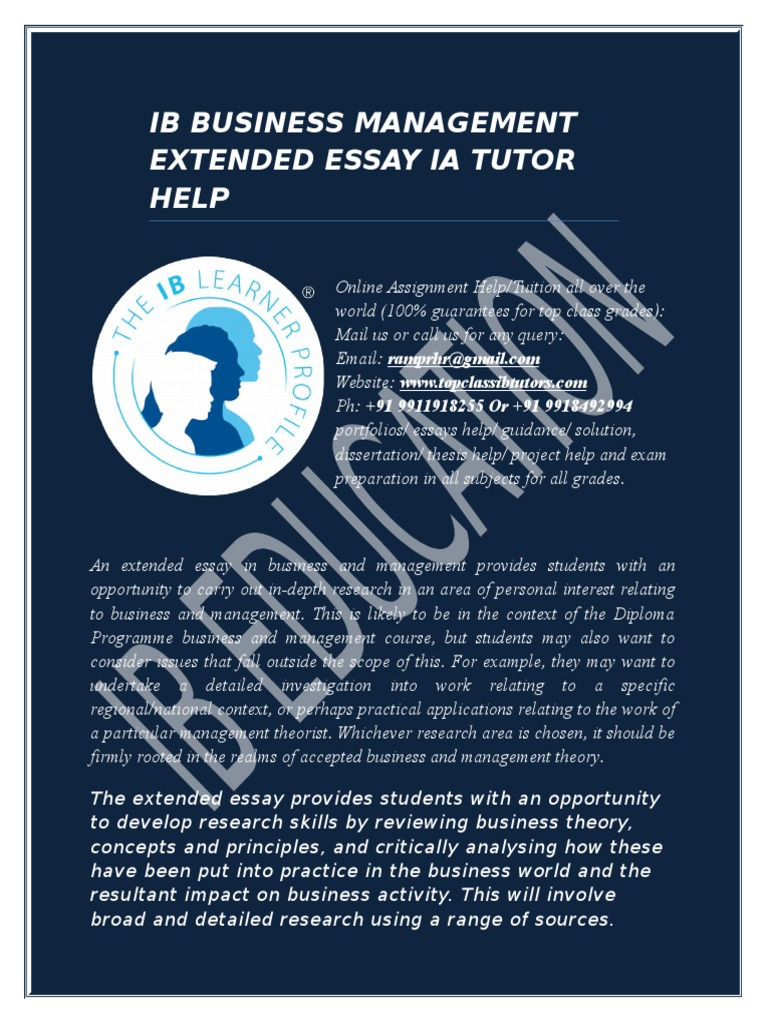 business and management extended essay outline