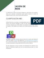 Clasificación de Inventarios ABC
