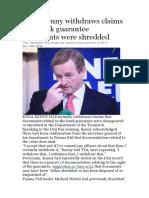 Enda Kenny Withdraws Claims That Bank Guarantee Documents Were ShreddedSeanie Fitz