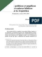 Partidos politicos evangelicos conservadores biblicos en la Agentina