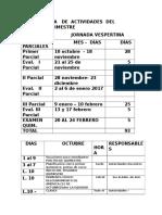 Cronograma de Actividades Del Segundo Quimestre Vesp.