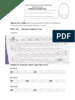 PRUEBA DE MATEMATICA 3° numeros, secuencia y antecesor y sucesor