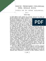 Carlos Vega - Un códice peruano colonial del siglo XVII. La música en el Perú colonial.