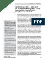 Correlação Entre Incapacidade Funcional Lombar e Índices Da Aptidão Física Para a Saúde