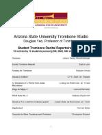 Arizona State University Trombone Studio Douglas Yeo, Professor of Trombone   Student Trombone Recital Repertoire
