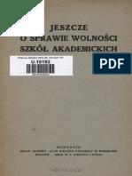 Jeszcze o Sprawie Wolności Szkół Akademickich, 1933