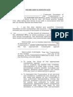 Sample Secretary's Certificate Litigation