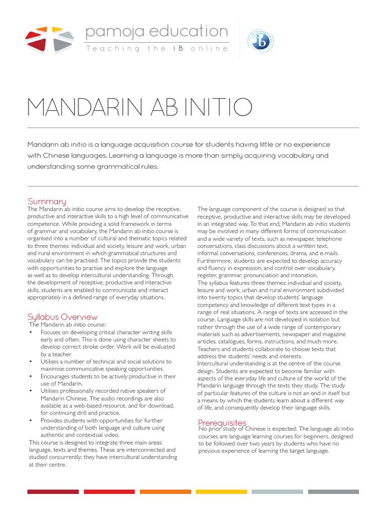 mandarin ab initio fact sheet pdf