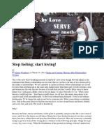 Stop Feeling Start Loving