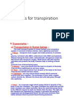 Notes for Transpiration