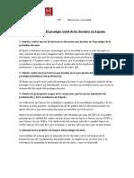 Actividad 5. El Prestigio Social de Los Docentes en España.