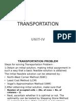 Transportation & Assignment