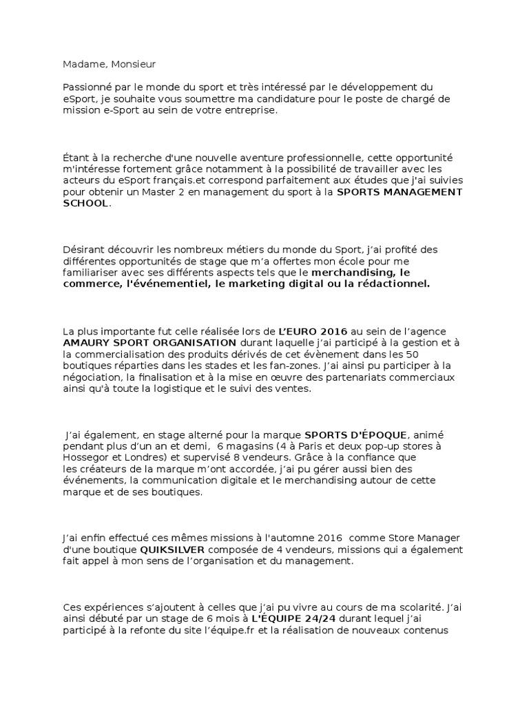 Lettre De Motivation De Benoit Cochet Pour Le Poste De Charge De
