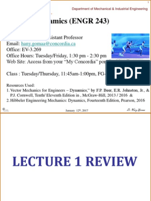 Lecture 2 (Kinematics of Particles, Uniform Rectilinear