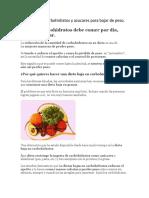 Dieta Baja en Carbohidratos y Azucares Para Bajar de Peso