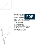 Ensayo Ventajas y desventajas de la técnica TIR para evaluar proyectos de inversión
