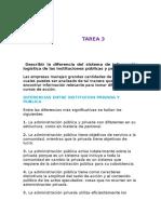 Describir la diferencia del sistema de información logística de las instituciones públicas y privadas