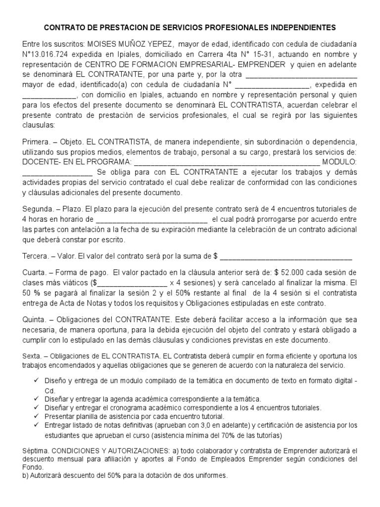 Excelente Es Un Contratista Independiente Fotos - Ejemplo De ...