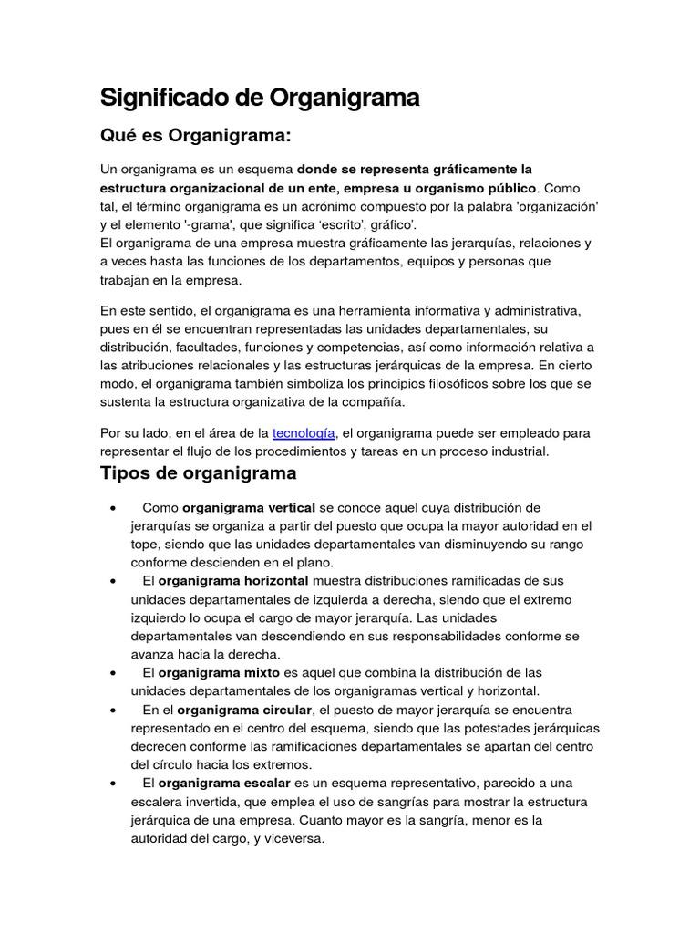 Significado De Organigrama
