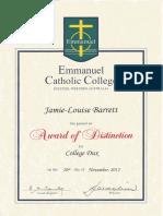 ecc college dux award
