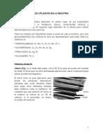 Metales, materiales cerámicos y aleaciones mas utilizados en la industria